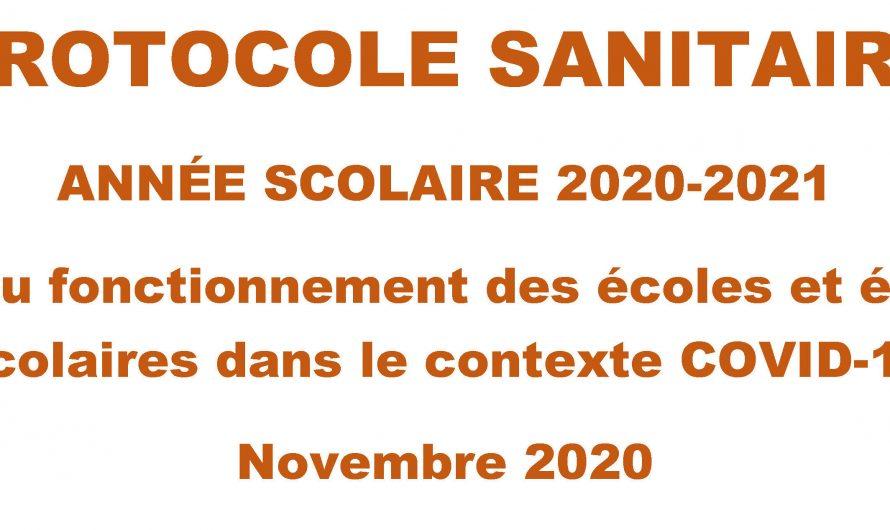 #COVID19 Protocole Sanitaire année scolaire 2020-2021 – et information sur rentrée scolaire du 2 novembre 2020
